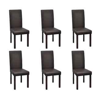 vidaXL Valgomojo kėdės, 6 vnt., rudos, dirbtinė oda