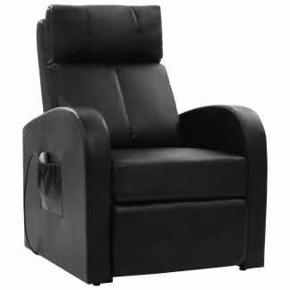 VidaXL Elektr. masaž. krėslas su nuotoliniu valdymu, juodas