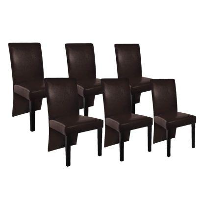 vidaXL Valgomojo kėdės, 6 vnt., dirbtinė oda, tamsiai rudos