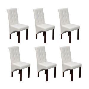 Valgomojo kėdės, 6 vnt., baltos, modernios