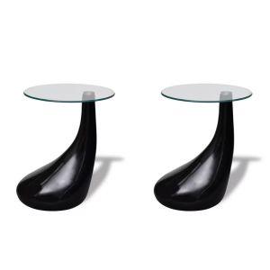 Kavos stal. su apvaliu stik. stalvirš., 2 vnt., ypač blizg., juod.