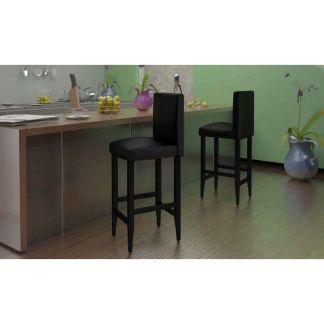 vidaXL Baro kėdės, 4 vnt., dirbtinė oda, juodos