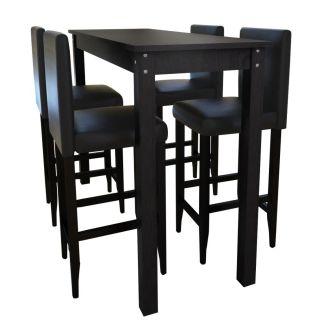Baro stalas su 4 baro kėdėmis, juodos spalvos