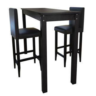 Baro stalas su 2 baro kėdėmis, juodos spalvos