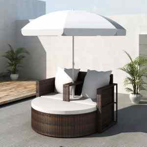 vidaXL Sodo gultas su skėčiu, rudas, poliratanas,