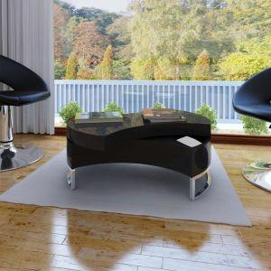 vidaXL Kavos staliukas, reguliuojamas, labai blizgus, juodas