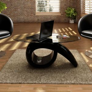 vidaXL Kavos stal. su ovaliu stikl. stalviršiu, ypač blizgus, juodas