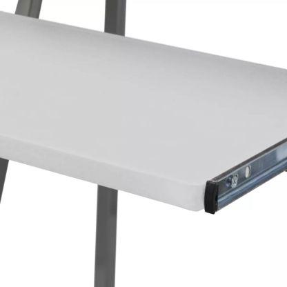 Kompiuterio Stalas su Ištraukiamu Padėklu Klaviatūrai, Baltas