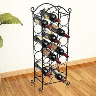 vidaXL Stovas vynui skirtas 21 buteliui, metalinis