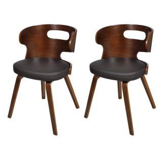 vidaXL Valgomojo kėdės, 2 vnt., medinis rėmas, dirbtinė oda, rudos