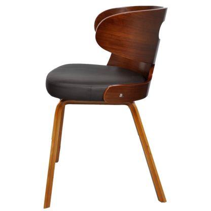 Valgomojo kėdės, 2 vnt., medinis rėmas, dirbtinė oda, rudos
