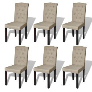 vidaXL Valgomojo kėdės, 6 vnt., audinys, kreminės spalvos