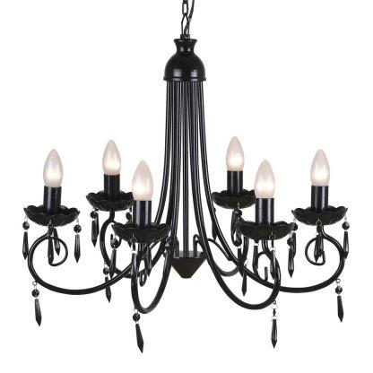 Elegantiškas Lubų Šviestuvas, Sietynas, Juodas, 6 Lempučių