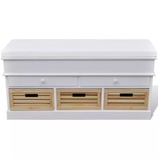 Balta Spintelė-Minkštas Prieangio Suoliukas, 2 Stalčiai, 3 Dėžės