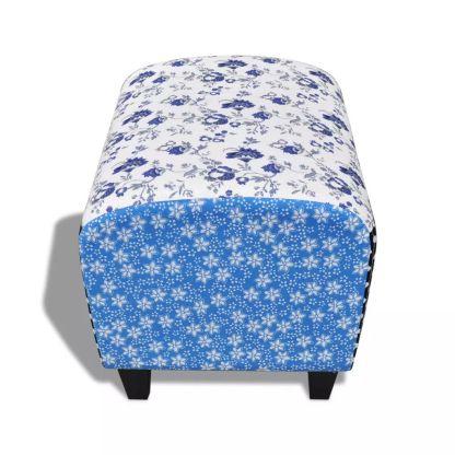 Audiniu dengtas suoliukas kojoms, mėlynos ir baltos sp.
