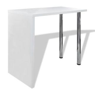 vidaXL Baro stalas, MDF, su 2 plien. kojelėmis, ypač blizgus, baltas