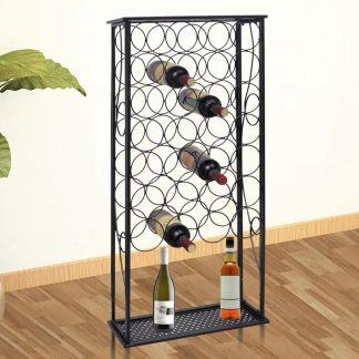 vidaXL Stovas vynui skirtas 28 buteliams, metalinis