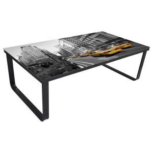 Kavos staliukas su stikl. stalviršiu, stačiakampis