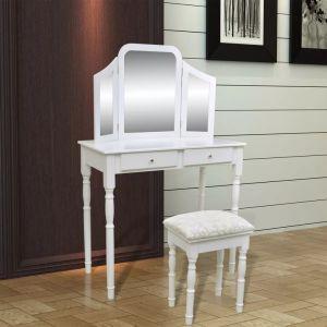 Kosmetinis staliukas 3-1, su veidrodžiu ir kėdute, 2 stalčiai, baltas