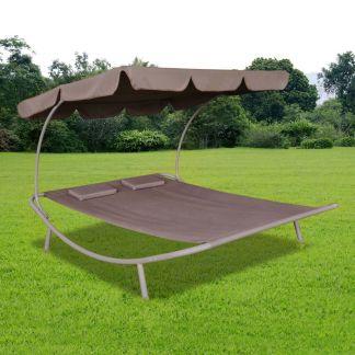 vidaXL Lauko gultas su stogeliu ir pagalvėmis, rudas