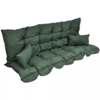 vidaXL 4 dalių pagalvėlių rinkinys supamai kėdei, žalias audinys