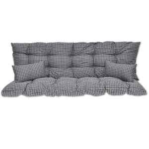 4 dal. pagalvėlių rinkinys supamai kėdei, mėl. ir balt. audinys