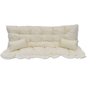 4 dal. pagalvėlių rinkinys supamai kėdei, krem. baltas audinys
