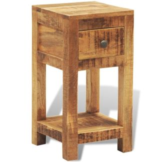 vidaXL Naktinis staliukas su 1 stalčiumi, masyvi mango mediena