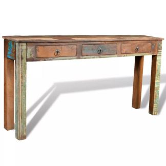 vidaXL Konsolinis staliukas su 3 stalčiais, perdirbta mediena