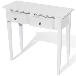 Kosmetinis konsolinis staliukas su dviem stalčiais, baltas
