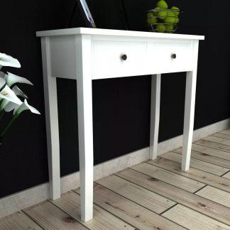 vidaXL Kosmetinis konsolinis staliukas su dviem stalčiais, baltas