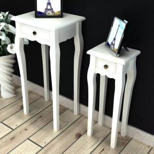 vidaXL Sudedamų staliukų komplektas, 2d., su stalčiumi, baltas