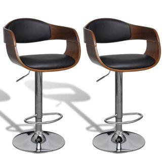 vidaXL Baro kėdės, 2 vnt., dirbtinė oda, su atlošais