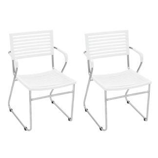 vidaXL Kėdės su porankiais, 2 vnt., geležinis rėmas, plastikas, baltos