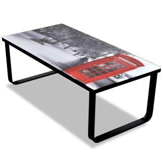vidaXL Kavos stal. su telefono budelės imitacija, stiklinis stalviršis