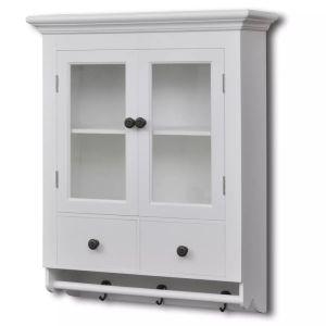vidaXL Virtuvinė spintelė, medinė, su stiklinėmis durelėmis, balta