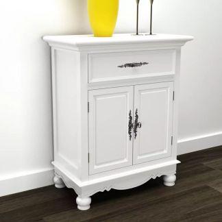 vidaXL Spintelė su 2 durelėmis ir 1 stalčiumi, medinė, balta