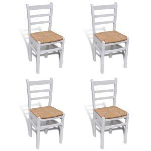 Baltai dažytos medinės valgomojo kėdės, 4 vnt.