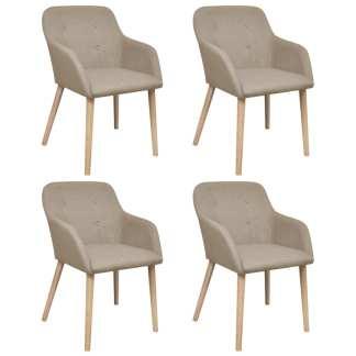 vidaXL Valgomojo kėdės, 4 vnt., kreminis audinys ir ąžuolo med. mas.