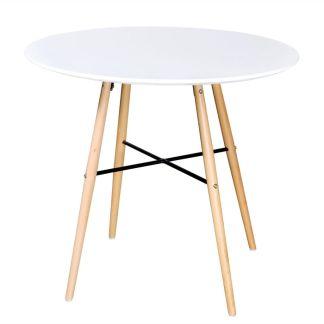 Apvalus baltas stalas