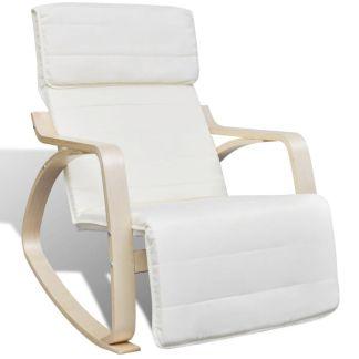 vidaXL Supamoji kėdė, lenktos med. rėmas, audinys, reg., kreminė sp.