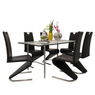 vidaXL Valgomojo kėdės, 6 vnt., U gembės formos, dirbtinė oda, juodos