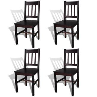 vidaXL Valgomojo kėdės, 4 vnt., medinės, rudos