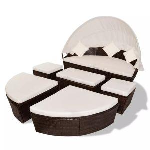 Sodo gultas su skliautu, rudas, 186x226cm, poliratanas