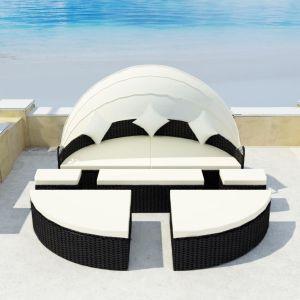 vidaXL Sodo gultas su skliautu, juodas, 186x226cm, poliratanas