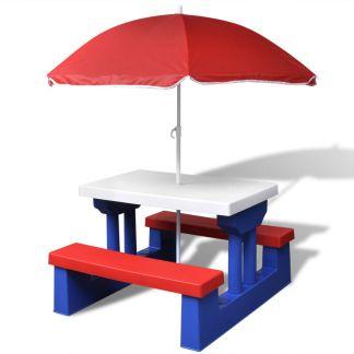 vidaXL Vaikiškas lauko staliukas su suoliukais ir skėčiu