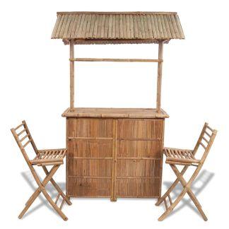 vidaXL Bistro baldų komplektas, 3d., bambukas