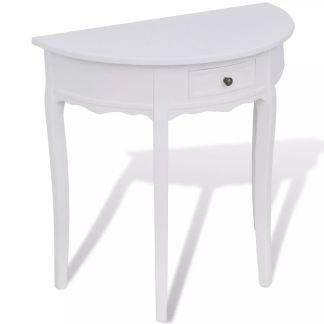 vidaXL Konsolinis staliukas su stalčiuku, pusapvalis, baltas