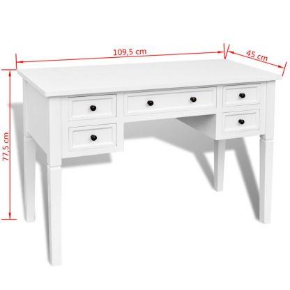 Baltas rašomasis stalas su 5 stalčiais