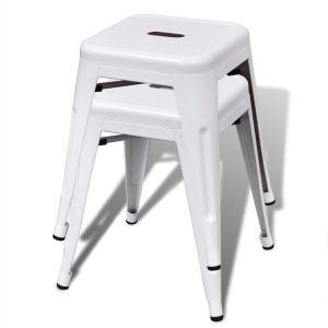Kėdutės, 2 vnt., sukraunamos, metalinės, baltos